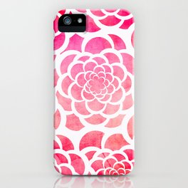 Girly hot pink watercolor abstract floral pattern  iPhone Case