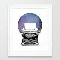 typewriter Framed Art Prints featuring Typewriter by Rebecca Joy - Joy Art and Design