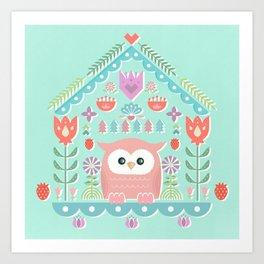 Scandinavian Folk Style Owl Bird House Art Print