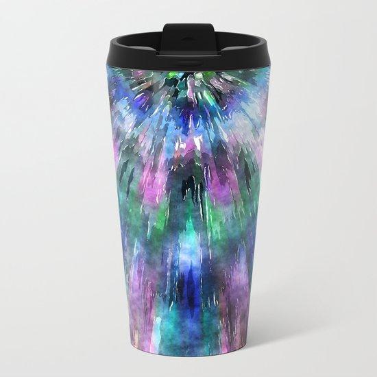 Textured Watercolor Tie Dye Metal Travel Mug