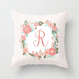 Monogram R - cute girls coral florals flower wreath, coral florals, baby girl, baby blanket Throw Pillow