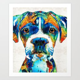 Colorful Boxer Dog Art By Sharon Cummings Art Print