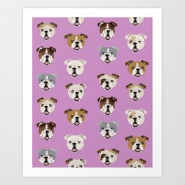 English Bulldog faces cute dog art pet portrait must have gifts for english bulldog owners Art Print