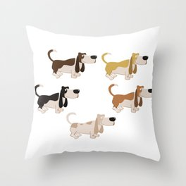 Basset Hound Colors Illustration Throw Pillow
