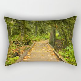 Path through lush temperate rainforest Rectangular Pillow