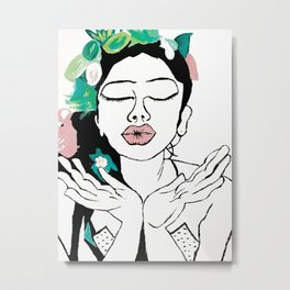 Kisses: a pretty, minimal, portrait illustration in black and white with a hint of color Metal Print