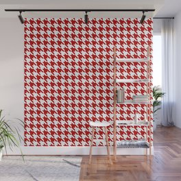 Red Classic houndstooth pattern Wall Mural
