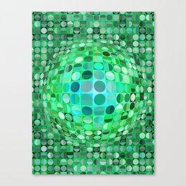 Optical Illusion Sphere - Green Canvas Print