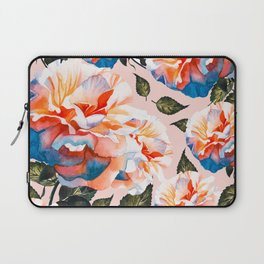 Big flowers blue & orange Laptop Sleeve