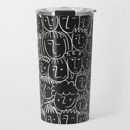 Black & White Hand Drawn People Pattern Travel Mug