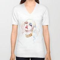harley quinn V-neck T-shirts featuring Harley Quinn by Tyler Revenant