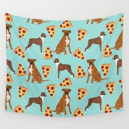 Boxer dog pattern pizza dog lover pet portraits boxers dog breed by pet friendly Wall Tapestry