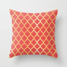 Moroccan Gold & Red Orange Throw Pillow