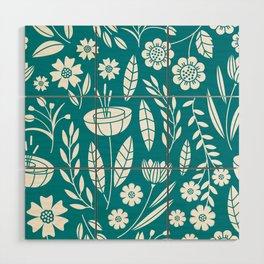Blooming Field - teal Wood Wall Art