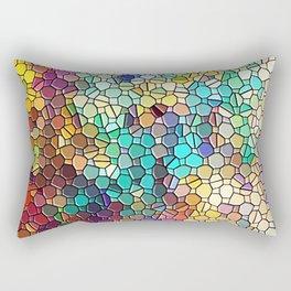 Decorative Rainbow Tiled Mosaic Abstract Rectangular Pillow