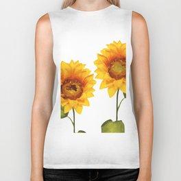 Sunflowers Illustration Biker Tank