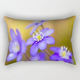 Spring Wildflowers, Beautiful Hepatica in the forest on a sunny and colorful background Rectangular Pillow