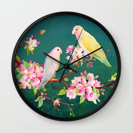 Watercolor Apple Blossoms and Love Birds Wall Clock
