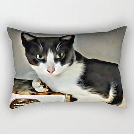 Black & White Kitty Rectangular Pillow