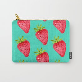 Summer Strawberries ( On Aqua )  Carry-All Pouch