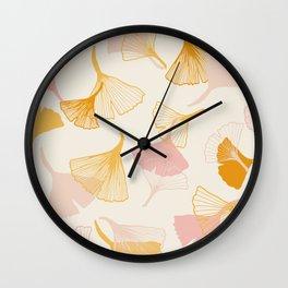 Ginko leaf pattern Wall Clock