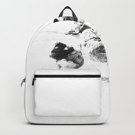 #Wild #geese #pattern #black and #white Backpack