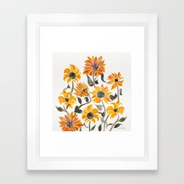 Sunflower Watercolor – Yellow & Black Palette Framed Art Print