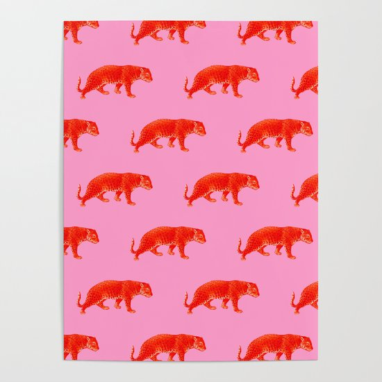 Vintage Cheetahs in Coral + Red by elliottdesignfactory