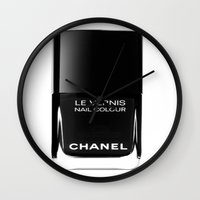 nail polish Wall Clocks featuring Black Nail Polish by Luxe Glam Decor