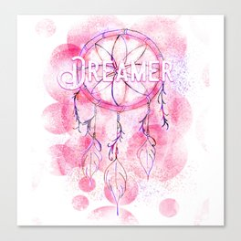 Pink and purple dreamer dream catcher Canvas Print