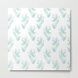 Little Succulent Pattern - Green on White Metal Print