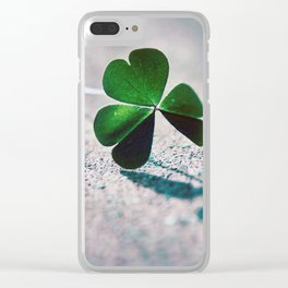 Green Clover Shadow Clear iPhone Case
