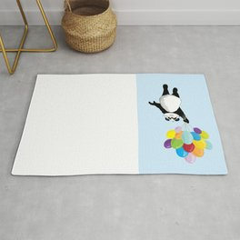 Panda floating in the air with balloons Rug