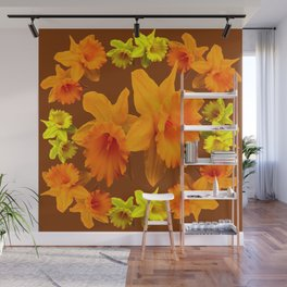 YELLOW SPRING DAFFODILS & COFFEE BROWN COLOR ART Wall Mural