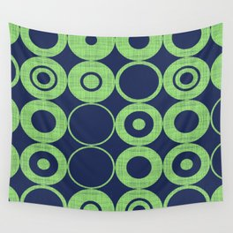 Green Bubbles on blue Wall Tapestry