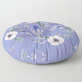 Floral Square Blue Floor Pillow