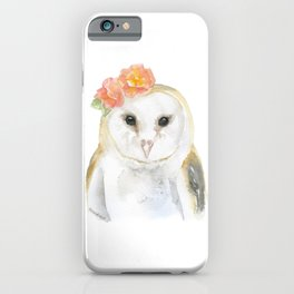Barn Owl Floral Watercolor iPhone Case
