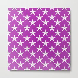 Starfishes (White & Purple Pattern) Metal Print