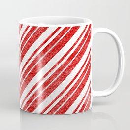 Velvety Red Candy Cane Diagonal Christmas Stripe Coffee Mug