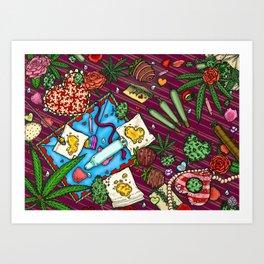 Hearts and Flowers (Cannabis Altar IV) Art Print