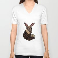 eevee V-neck T-shirts featuring Eevee by Papa-Paparazzi