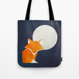 Origami Fox and Moon Tote Bag