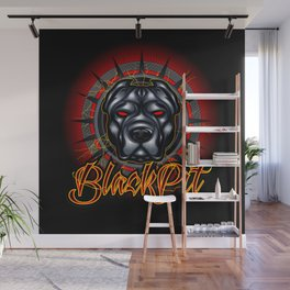 Evil dog pit bull head mascot Wall Mural