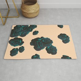 Green and Black Roses on Peach, Greenery Rug