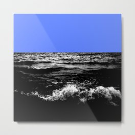 Black Wave w/Light Blue Horizon Metal Print