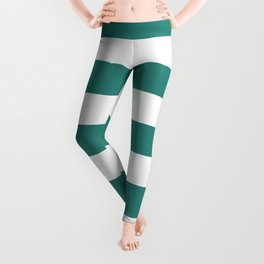 Celadon green - solid color - white stripes pattern Leggings