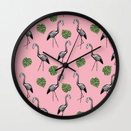 A Flock of Dead Flamingos Wall Clock