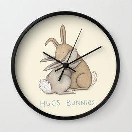 Hugs Bunnies Wall Clock