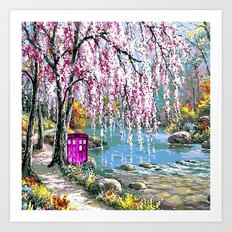 Tardis Art Cherry Blossom River Painting Art Print
