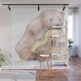 The woman and the polar bear Wall Mural